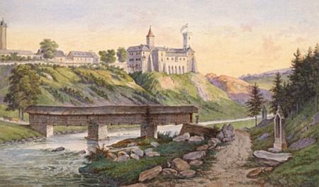 Pohled na hrad Rožmberk od severu s krytým mostem a jedním ze zastavení křížové cesty k poutnímu místu Studenec na obraze Aloise Gustava Schulze (1805-1860)