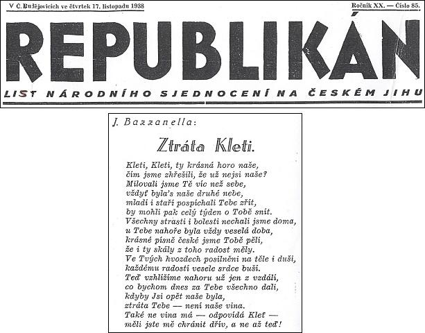 Báseň o Kleti při záhlaví listu Republikán ze 17. listopadu roku 1938