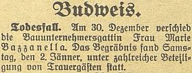Zpráva o úmrtí jeho ženy v prosinci roku 1931 na stránkách českobudějovického německého listu
