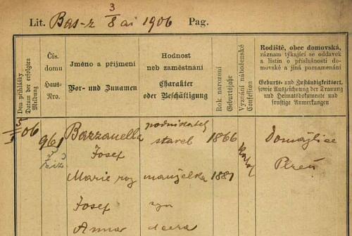 Pobytová přihláška pražského policejního ředitelství z roku 1906 prozrazuje, že byl veden jako Čech, bydlil na Žižkově a měl ženu Marii, syna Josefa a dceru Annu