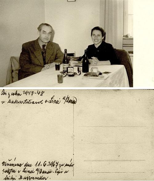 Líc a rub snímku, zachycujícího Josefa Bazzanellu mladšího s jeho ženou Mitzi (Marií)