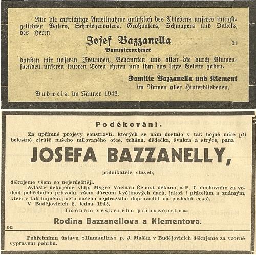 Německé a české poděkování za projevy soustrasti a účast na pohřbu