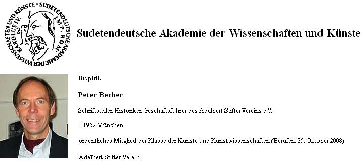 Záznam Petera Bechera na soupisu členů Sudetoněmecké akademie věd a umění