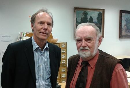 S autorem Kohoutího kříže Janem Marešem v Jihočeské vědecké knihovně v květnu 2014...