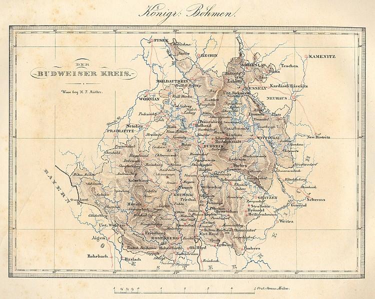 Mapka Budějovického kraje v Království českém v její příloze