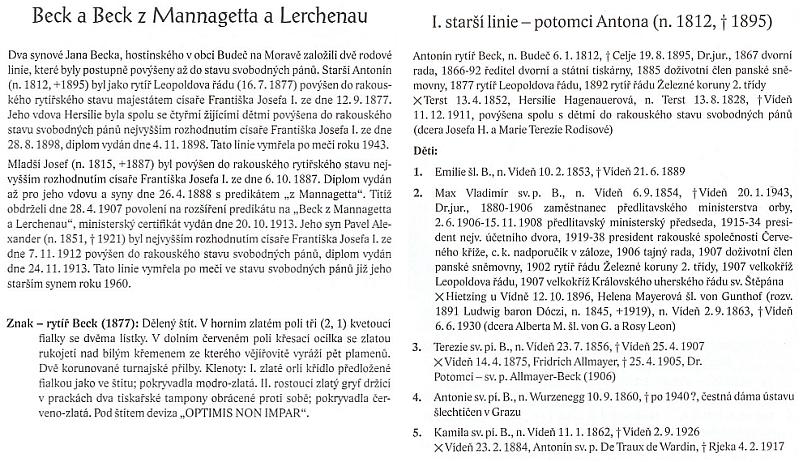 Údaje o Antonu Beckovi a popis znaku v Almanachu českých šlechtických a rytířských rodů