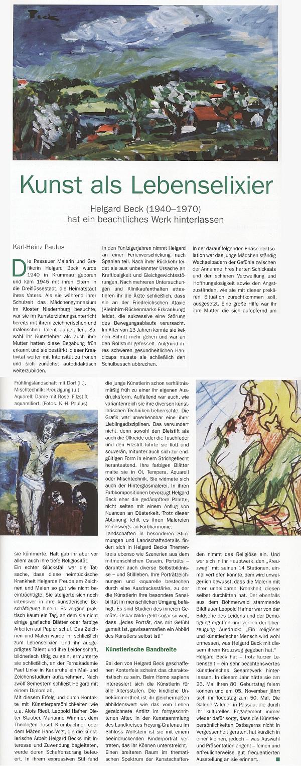 Časopis, věnovaný krásám Bavorského lesa, vzpomněl 50. výročí jejího skonu tímto článkem Karl-Heinze Pauluse