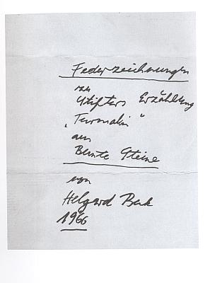 Titulní list a frontispis prvního vydání (2005) jejích perokreseb ke Stifterově povídce v pasovském nakladatelství Karl Stutz