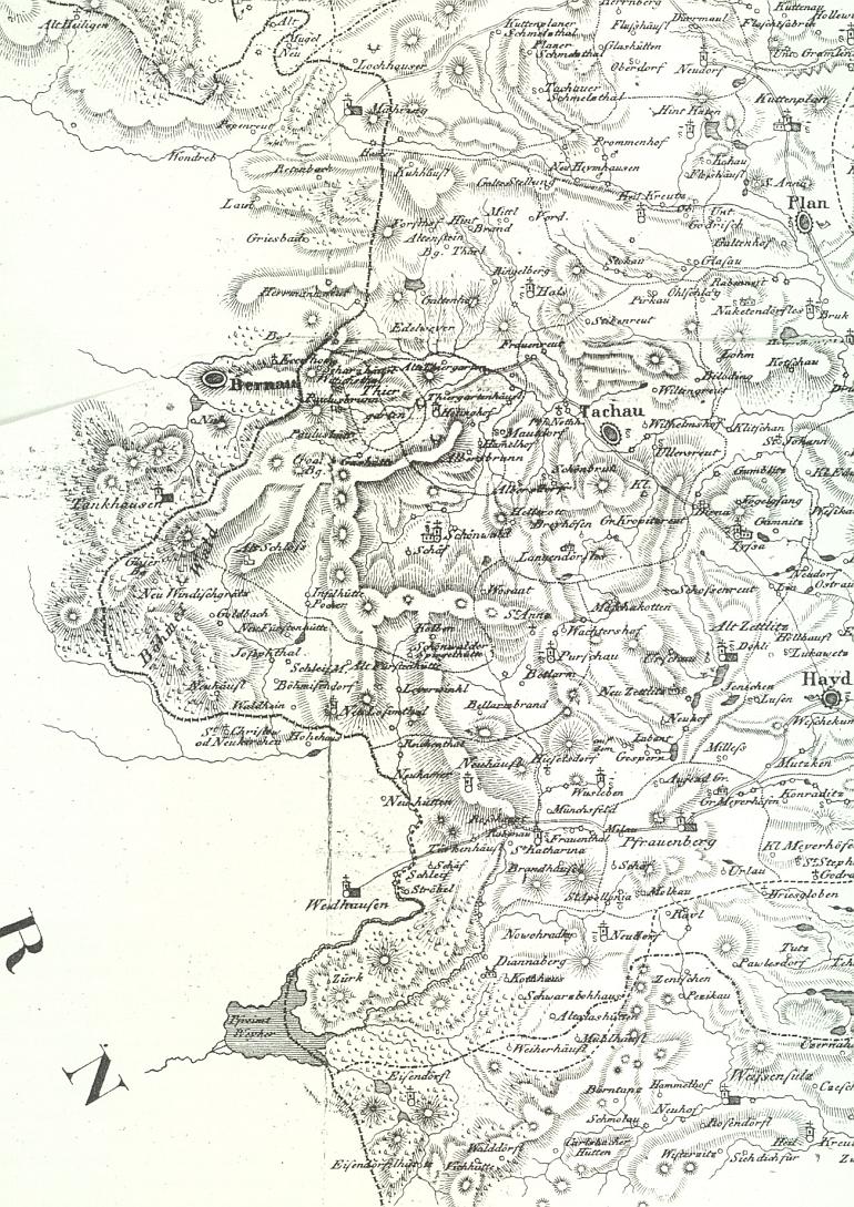 Tachovská část Českého lesa na mapě z počátku 19. století - Beerův rodný Schönwald (Lesná) najdeme přímo v jejím středu