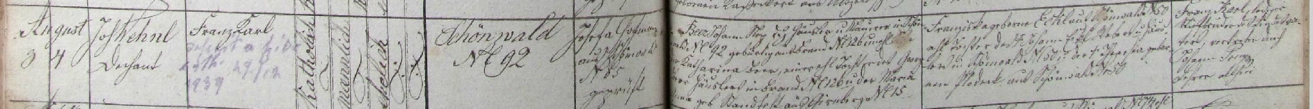 Ze záznamu v matrice farní obce Schönwald (dnes Lesná) vysvítá, že se tu ve stavení čp. 92 narodil dne 3. srpna roku 1879 a byl den nato děkanem Johannem Wehnlem ve zdejším kostele sv. Petra a Pavla i pokřtěn jménem Franz Karl Beer, že novorozencův otec Johann Beer, domkář a zedník v rodném stavení chlapcově, se narodil v obci Brand (dnes Milíře) čp. 126 jako nemanželský syn Kathariny Beerové, manželské dcery Georga Beera z Brandu čp. 126 a Marie Anny, roz. Standfestové z Girnbergu (dnes Zadní Milíře, čast obce Milíře) čp. 5, že matka novorozencova Franziska byla manželskou dcerou tkalce a domkáře v Schönwaldu čp. 50 Johanna Eckla a Theresie, roz. Plodeckové ze Schönwaldu čp. 50, posléze že kmotr dítěte Franz Karl, neženatý bratr novorozencova otce, se dal zastupovat zdejším učitelem Johannem Preyem - z pozdějšího přípisu se pak ještě dovídáme, že se Karl Beer dne 29. prosince roku 1939 zřekl katolické víry (deficit a fide kath.)