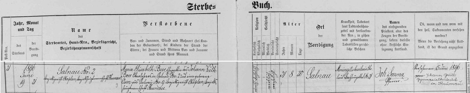 Záznam želnavské úmrtní matriky o skonu jeho první ženy