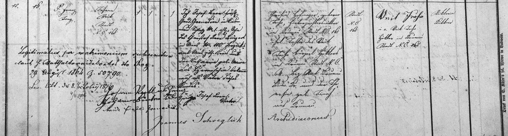 Záznam o jeho narození v českokrumlovské matrice