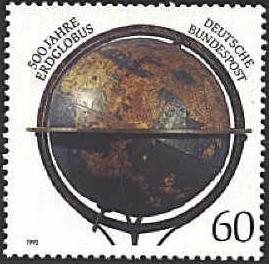 Jeho globus na německé poštovní známce