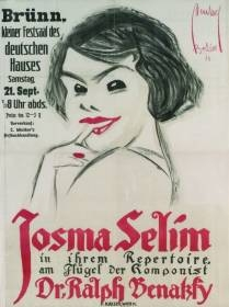 Plakát k vystoupení Benatzkyho ženy vBrně (podobně prý vystoupila ve dvacátých letech iv Českých Budějovicích)