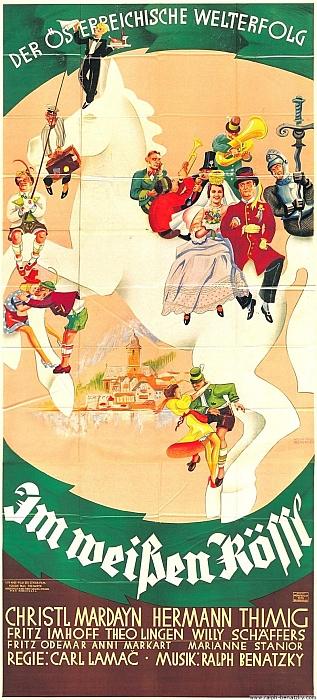 Plakát (1935) filmu podle nejslavnější Benatzkyho operety U Bílého koníčka v režii Karla Lamače