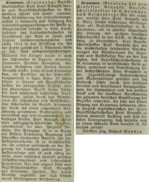 Výstřižky o něm a jeho přeložení na sever ve školní kronice obce Pernek roku 1935