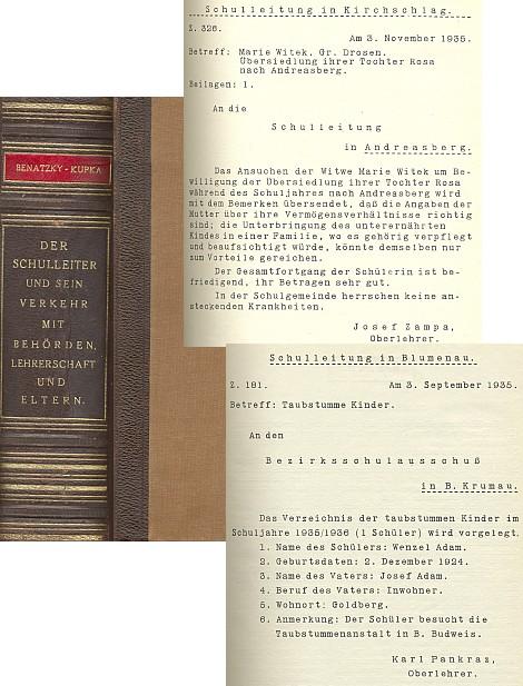 Jeho příručka Schulleiter z roku 1935 pro ředitele škol a jejich styk s úřady. učitelstvem a rodiči používá jako místní určení vzorů úředních písemností i jména dnes zaniklých osad z okolí Ondřejova, jak je autor znal ze své školské praxe