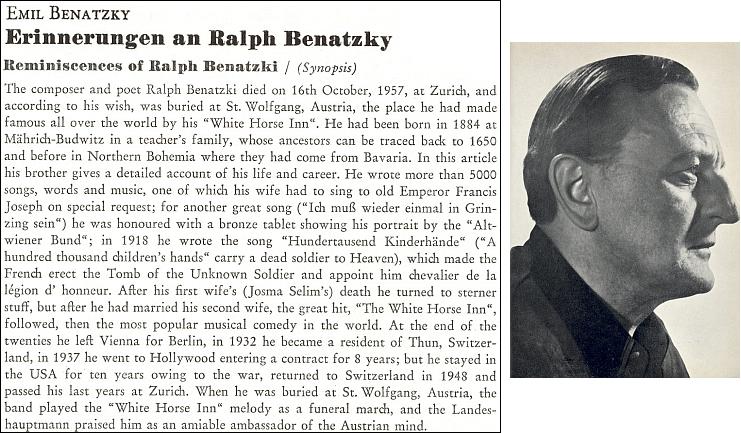 """Foto bratrovo a vzpomínky na něho i s tímto anglickým resumé, jak je Emil Benatzky zveřejnil roku 1960 večtvrtletníku """"Sudetenland"""""""