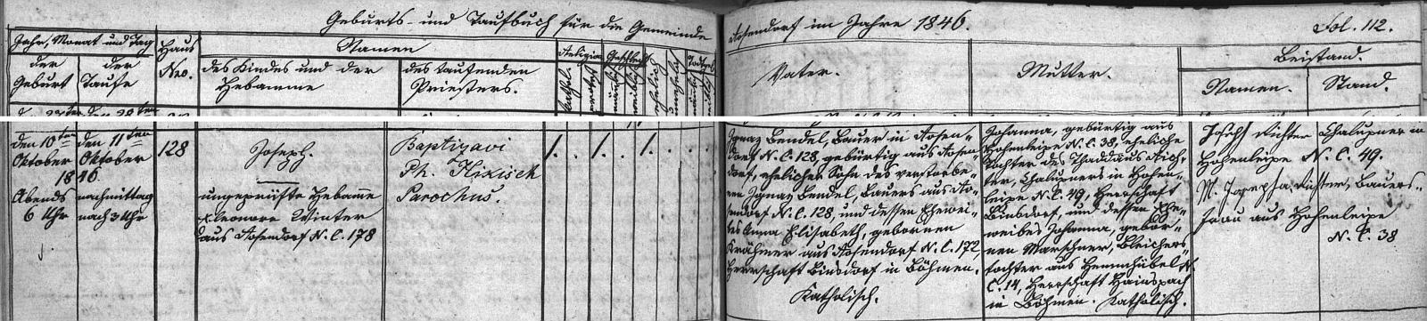 Záznam o jeho narození v křestní matrice matrice farní obce Růžová