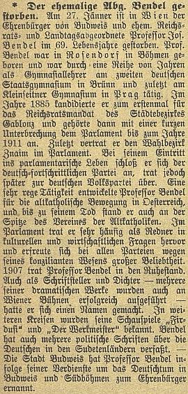 Nekrolog v Budweiser Zeitung zmiňuje čestné občanství města