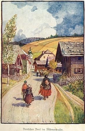 """""""Německá ves na Šumavě"""" (jde zřejmě o Volary) na jediné barevné ilustraci Maximiliana Liebenweina z Bendelovy knihy, kde zdobí její frontispis"""