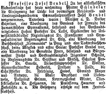 Zpráva o jeho pohřbu ve  vídeňském tisku