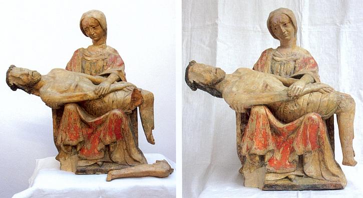 Pieta z Cipína z doby kolem roku 1390 před a po restaurování;  je vytesána z vápence a tvoří dnes cennou součást sbírky středověkého umění Alšovy jihočeské galerie v Hluboké nad Vltavou