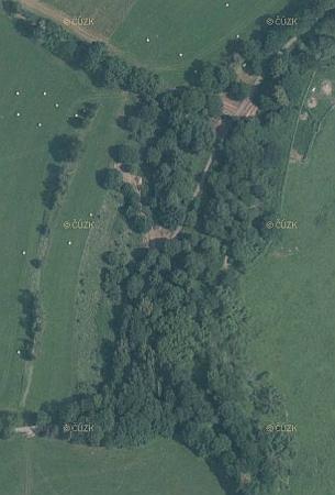 Zaniklý Cipín na leteckých snímcích z let 1949 a 2011