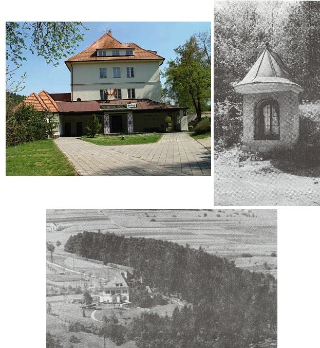 Vila rodiny Spiro, dnes hotel Golf ve Větřní,  a boží muka u lesíka Gschirbani-Hölzl, která ji také připomínají
