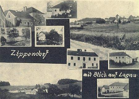 Cipín a Slavkov spolu na staré pohlednici