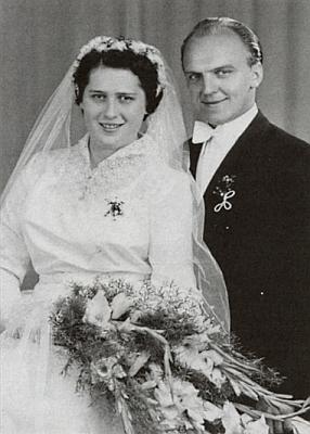 Svatební fotografie Aloise a Edith Bergerových z roku 1955