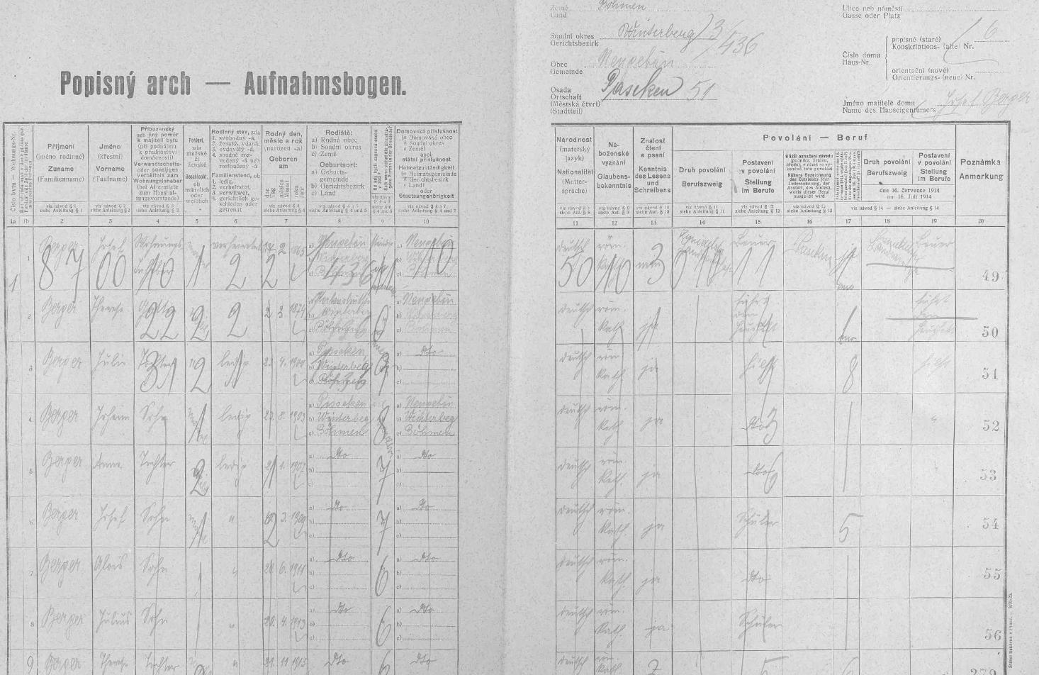 Arch sčítání lidu z roku 1921 zaznamenává ve stavení čp. 6 na Pasece početnou rodinu Bergerovu s otcem Josefem (*1865 v Novém Světě), matkou Theresou (*1874 v Korkusově Huti), synem Johannem (*1903), dcerou Annou (*1907), syny Josefem (*1909), Aloisem (*1911), Juliem (*1913) a dcerou Theresou (*1915), všechny děti manželů Bergerových se už narodily na Pasece, osadě příslušející k obci Nový Svět a znající mezi obyvateli jedině tyto Bergerovy