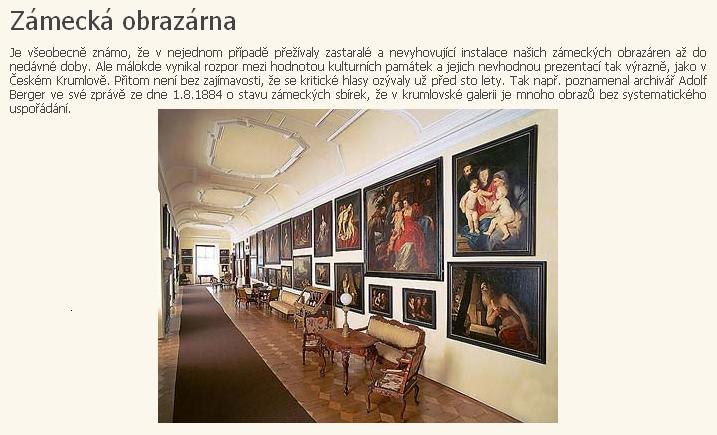 Zajímavou zmínku o něm nacházíme i na stránkách věnovaných českokrumlovské zámecké obrazárně