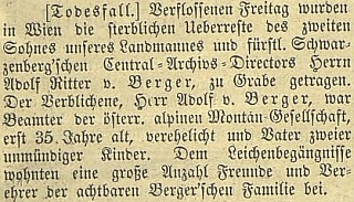 Zpráva o vídeňském úmrtí a pohřbu jeho syna Adolfa včeskobudějovickém německém listě