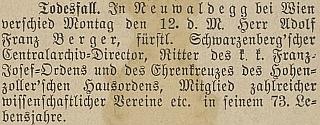 Zpráva o jeho úmrtí v Budweiser Kreisblatt