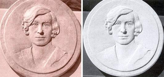 Na bronzovém reliéfu Dagmar Doyscherové a jeho sádrovém otisku