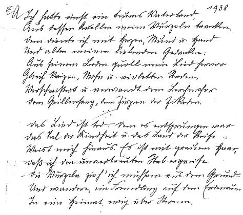 """Rukopis její básně """"1938"""""""