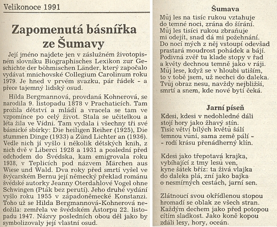 Původní otištění překladů básní Šumava a Jarní píseň v Česko-bavorských Výhledech opravdu neuvádí jméno toho, kdo ji přeložil