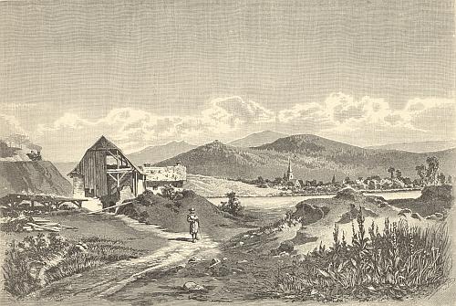 """""""Ruine Baiereck"""" je v jeho knize o Šumavě otitulována i tato ilustrace, kde se Pajrek zvedá na lesnatém vrchu nad Nýrskem a vlevo už supí parní lokomotiva jako posel nové doby"""