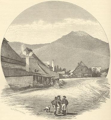"""Sklárna v Alžbětíně, jak ji zachytil Karl Liebscher pro Bernauovu knihu """"Der Böhmerwald"""""""