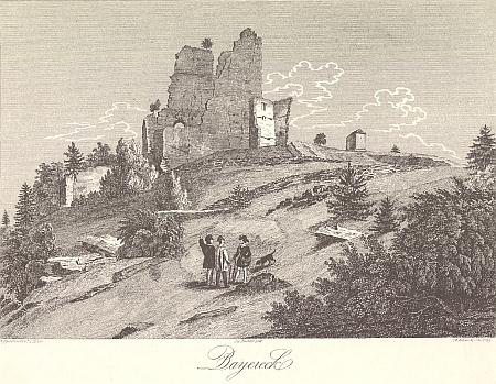 Hrad Pajrek na nedatované rytině podle předlohy Franze Alexandra Hebera (1815-1849)