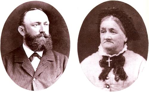 Majitelé a provozovatelé sklárny v Podlesí - Vogelsangu v 19. století: Josef Schmid (†10. 11. 1897) a Terezie Schmidová, roz. Eisnerová (1811-1897)