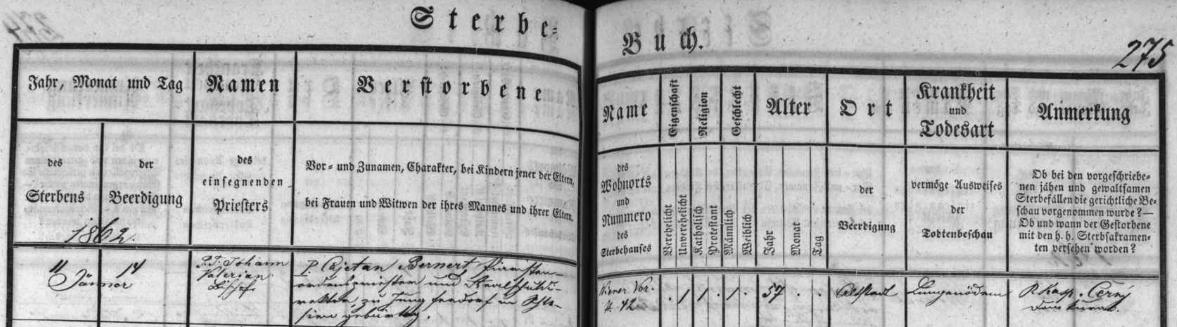 Záznam o jeho úmrtí v českobudějovické úmrtní matrice