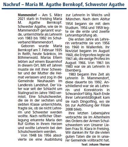 """Nekrolog v komunitním zpravodaji uvádí mylně český název její rodné obce - """"Reith"""" byl původní název nejen někdejší Loutky, aletaké zaniklého Svánkova u Světlíku"""
