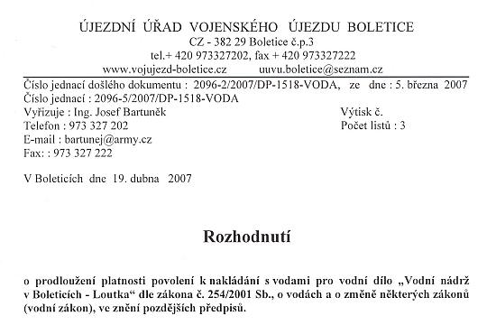 Část armádního dokumentu o loutecké nádrži z března 2007