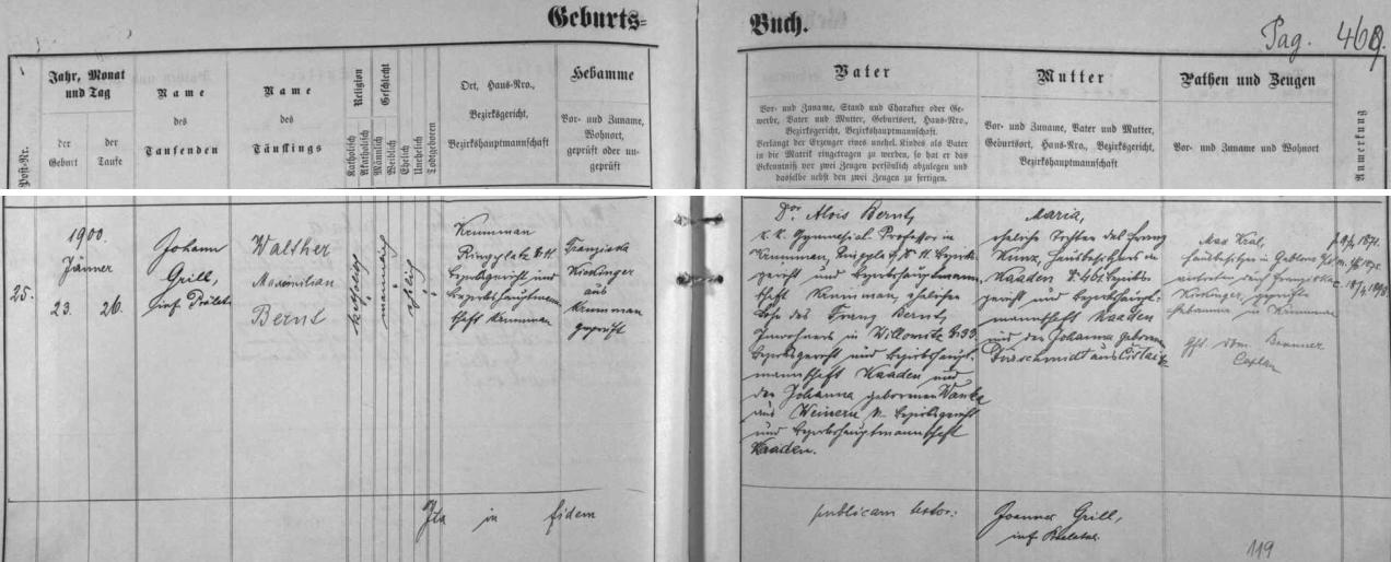 Podle českokrumlovské křestní matriky se mu v domě čp. 11 na zdejším rynku (Ringplatz) narodil 23. ledna roku 1900 syn Walter Maximilian Bernt, později věhlasný historik umění a autor velkolepé pětidílné práce o nizozemské malbě 17.století - o otci dítěte se tu dovídáme, že byl synem Franze Bernta z Vilémova (Wilomitz) čp. 33, okres Kadaň, ajeho ženy Johanny, roz. Wanka, z Vinař (Weinern), rovněž okres Kadaň, chlapcova matka Maria byla pak dcerou Franze Kunze, majitele domu z Kadaně čp. 461 a jeho ženy Johanny, roz. Dürschmidtové