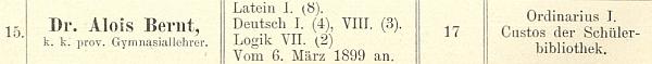 Jeho jméno na seznamu učitelského sboru českokrumlovského gymnázia v roce 1899