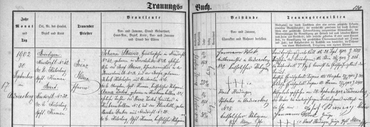 Takto ondřejovská oddací matrika zaznamenává svatbu Anny Zodetové, dcery Franze Zodeta a Elisabeth, roz.Gruberové, všech tří z jeho textu o spřízněnosti po předcích s Adalbertem Stifterem