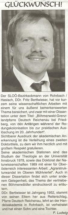 K dokončení jeho disertace o zaniklé farnosti Německý Rychnov u Frymburku