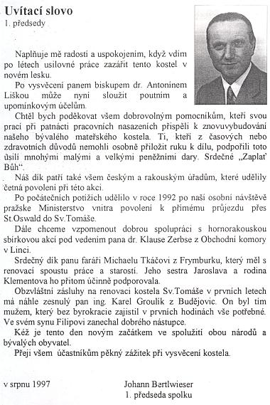 Jeho uvítací slovo v brožuře k znovuvysvěcení kostela ve Svatém Tomáši roku 1997